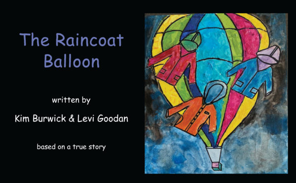 front cover, children's drawing of the raincoat balloon
